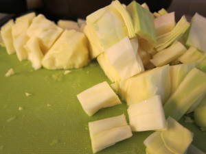 Chopped cabbage cubes